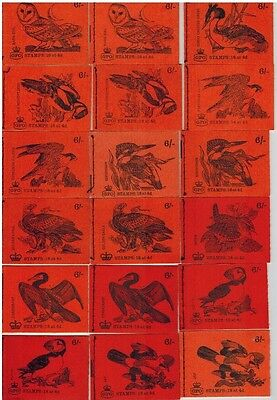 Full serie  6 shilling birds 18 STITCHED BOOKLETS QP38 TILL QP55 includes QP39