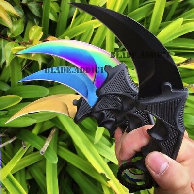4PC SET TACTICAL COMBAT KARAMBIT NECK KNIFE Survival Hunting BOWIE Fixed Blade