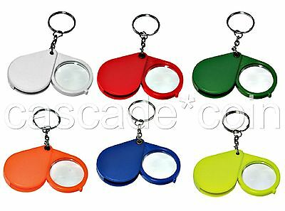 Keychain Magnifier -Choice of Colors- 5x Glass Lens Plastic Body Metal Chain New