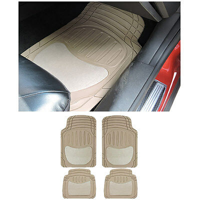 4 pc SM SUV Beige Tan Front and Rear AW Semi-Carpet Rubber Floor Mats Set
