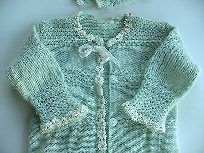 Antique Baby Light Blue Dainty Soft Sweater Fowers/Beads And Hat Set