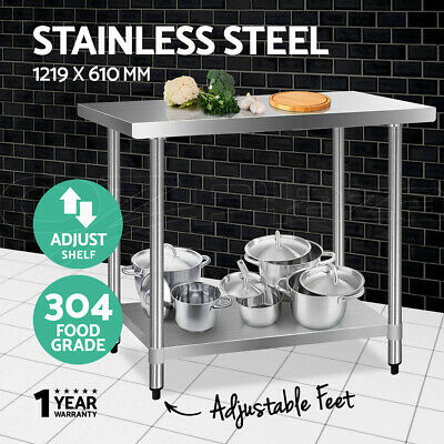 1219x610mm Commercial 304 Stainless Steel Kitchen Work Bench Food Prep Table Top
