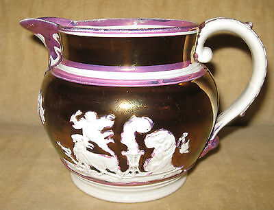 EARLY 19TH C. ENGLISH PINK & COPPER LUSTER WARE SPRIGGED CLASSICAL DECORATED JUG