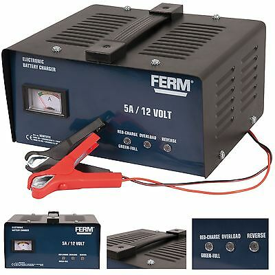 Ferm Car & Motorcycle Battery Charger 12V 5A  Metal Case