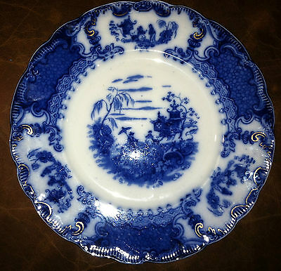 "GORGEOUS UPPER HANLEY ""GEISHA"" PATTERN FLOW BLUE DINNER PLATE 10"" circa 1890s"