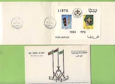 Libya 1964 Scouts Promise Camp miniature sheet used in presentation folder, FDI