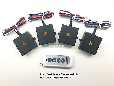 12v 4 channels LONG RANGE on off wireless remote control relay switch RM104P