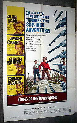 GUNS OF THE TIMBERLAND orig movie poster LOUIS L'AMOUR/ALAN LADD/FRANKIE AVALON