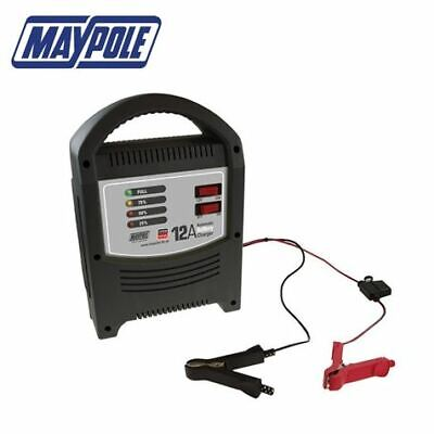 Maypole 12A 12 Amp 12v/24v 2200cc+ Car Van Boat Motorcycle Battery Charger #7112