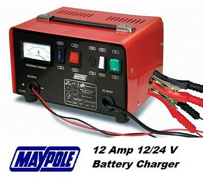Maypole Heavy Duty Steel 12 Amp 12v/24v Car Van Tractor Battery Charger #716