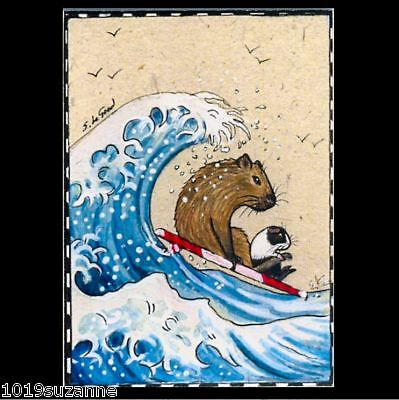 Aceo Guinea Pig Capybara Surfing Surfboard Ocean Painting Print Suzanne Le Good