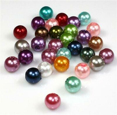 20 COLOUR CHOICE TOP QUALITY ACRYLIC FAUX ROUND PEARL BEADS 4mm 6mm 8mm 10mm 12m