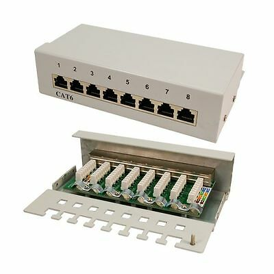8 Port Patchpanel Cat6 Netzwerk Hub Installation Patchen Lan Rj45 Logilink