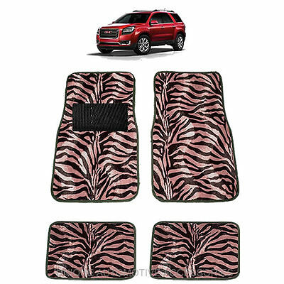 Pink & Black Zebra Animal Print Carpet Floor Mats 4Pc Set For Suvs 1017