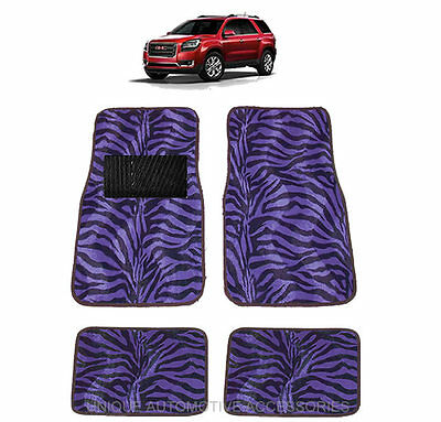 Purple & Black Zebra Animal Print Carpet Floor Mats 4Pc Set For Suvs 1017