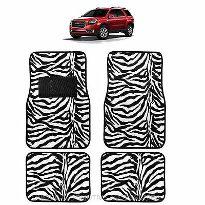 White & Black Zebra Animal Print Carpet Floor Mats 4Pc Set For Suvs 1017