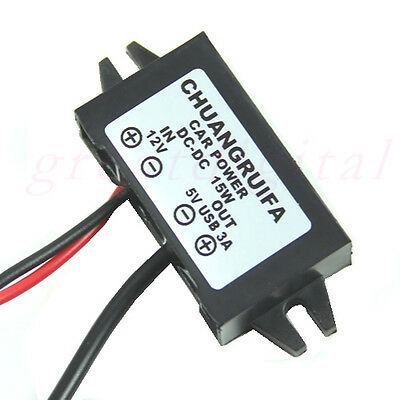 Waterproof DC Converter Mini USB Car Power Adapter DC 12V to 5V 3A 15W