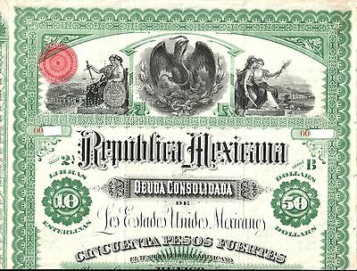 XXX-RARE ORIG 1885 GREEN $50 MEXICO COLUMBUS BOND w PASS-CO, MEX TREASURER's SIG