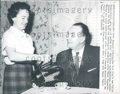 1961 NYC Police Commissioner Michael J Murphy Gets Coffee From Wife Press Photo