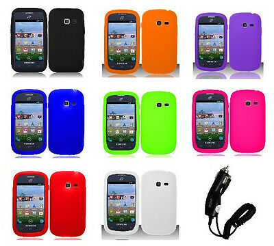 CarCharger + Rubber SILICONE Skin Soft Gel Case for Samsung Galaxy Centura S738c