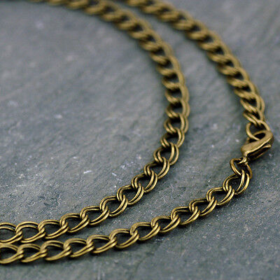 Double Link Curb Chain Necklace chain fancy Antique Bronze Plated 5.3mm cn203b
