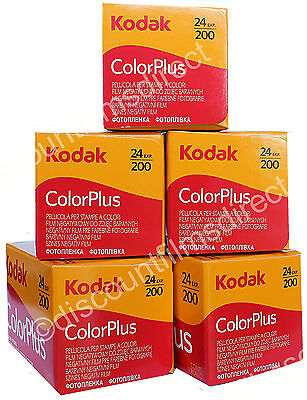 5 x KODAK COLORPLUS 200 35mm 24exp CHEAP COLOUR CAMERA FILM by 1st CLASS POST