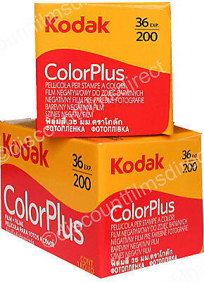 2 x KODAK COLORPLUS 200 35mm 36exp CHEAP CAMERA COLOUR FILM by  1st CLASS POST