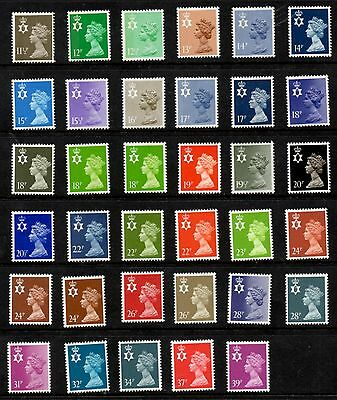 N Ireland. NI34-NI68. Set x 35 Questa Regional Machins. Superb unmounted mint.