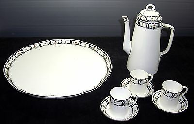 8 pc set excellent Royal Worcester porcelain chocolate set with cake plate