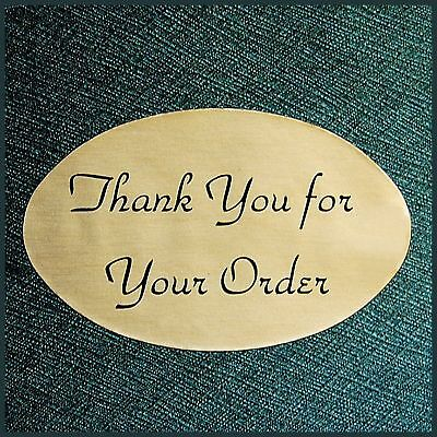 "1.25""X2"" GOLD OVAL THANK YOU STICKERS LABELS Satin Finish Roll of 500 Made in US"