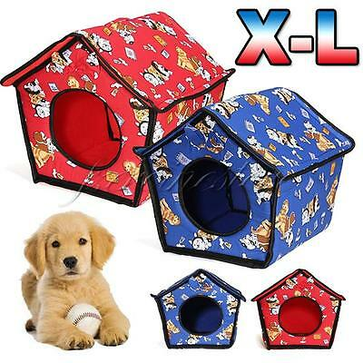S M L Pet Dog Puppy Cat Assemble Indoor Warm Cloth Cotton House Bed Kennel