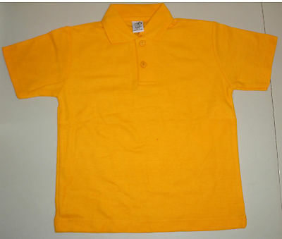 NEW school uniform polo shirt unisex Gold size 5 to 16