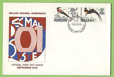 Malawi 1970 Decimal Overprints on Bird Definitives First Day Cover