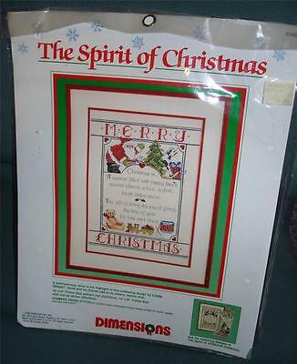 VTG NEW Counted Cross Stitch KIT Dimensions The Spirit of Christmas Sampler 1989
