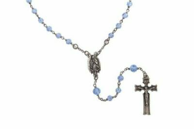 Beautiful Lady Guadalupe Rosary With Blue Glass Beads In Lead Free Pewter
