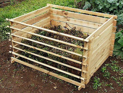 Easy Load Wooden Compost Bin Garden Waste Composting Wood Bins by Lacewing™