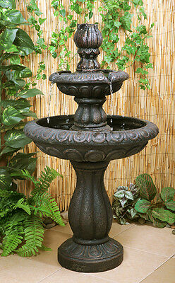 2 Tier Water Fountain Feature Cascade Classical ictorian Metallic Effect Garden