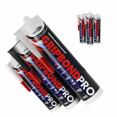 3 x GB PRO BUILDERS SILICONE SEALANT ADHESIVE SUPER STRONG GLASS WOOD UPVC STEEL