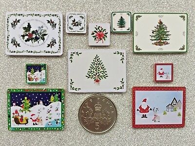 SET of 4 DOLLS HOUSE MINIATURE CHRISTMAS PLACEMATS & COASTERS 5 Designs Handmade