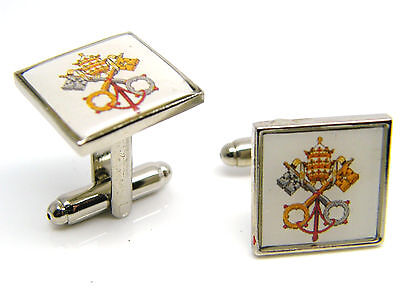 Papal Cross Keys Pope Crest Design Cufflinks Mens Gents Badge In Gift Pouch