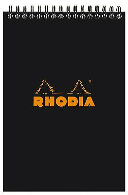 Rhodia Wirebound - Notebook - Black - Lined - 80 Sheets - 6 x 8.25 Inch R165019