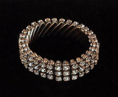 Vintage Made In British Hong Kong Silvertone Rhinestones Expansion Bracelet Nice