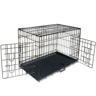 Metal Collapsible Pet Dog Cage Cat Puppy Portable Crate House Tray XL 42""