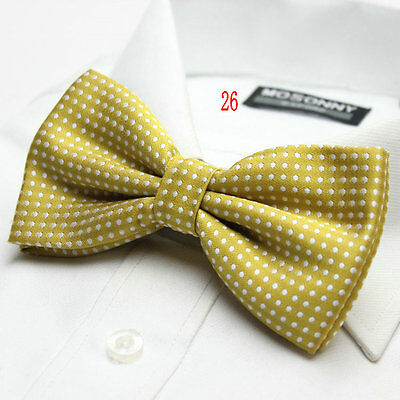 Boys Luxury 2 Layer GOLD with WHITE Polka Dot Dickie Bow Tie Adjustable