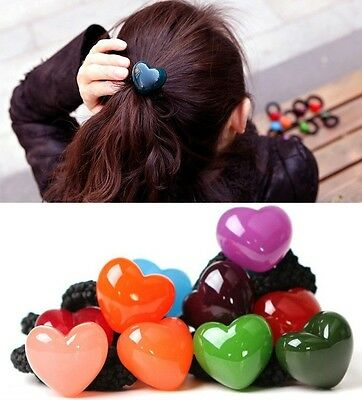 Women Girl Candy colors Heart Acrylic Hair Band Rope Scrunchie Ponytail Holder