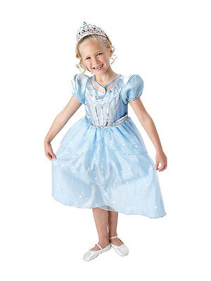 Disney Princess Cinderella Fancy Dress 7-8 Girls Sparkle Ballgown Costume New