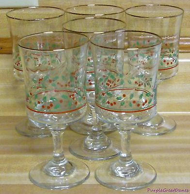 LOT 6 Arbys Christmas Holly Berries Stemware Tall Footed Wine Water Glass Goblet