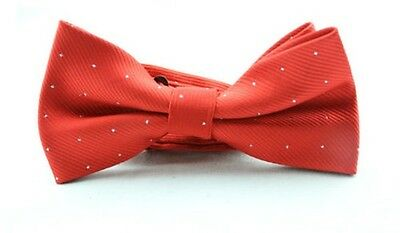 MENS Luxury Red With Diamonte Effect Stitch Dickie Bow Tie Ties Adjustable