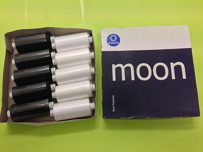 POLYESTER SEWING THREAD 10 REELS X 1000yds  MOON  WHITE OR BLACK *NEW*