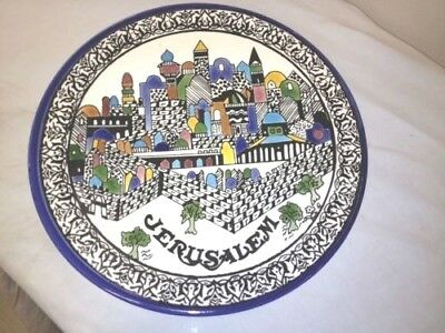 Vintage JERUSALEM Decorative Dish Plate Hand Painted JEWISH MADE IN ISRAEL
